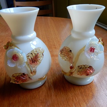 Bohemian or Stourbridge ?  Applied Glass Opaline Vases. - Glassware