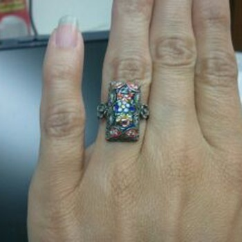 Sterling filigree and micro mosaic ring - needs repair - Fine Jewelry