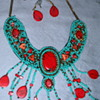 "PRETTY BEADED ""TURQUOISE LOOK"" NECKLACE & EARRINGS"