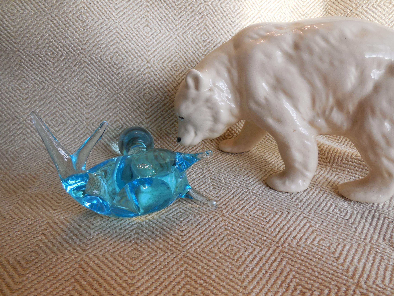 Blown Glass Art Figurine Animal Sea Creature Small Black SEA LION Seal