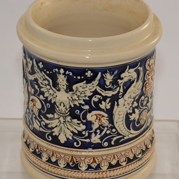Antique Cermanic Blue German? Pottery Crock Stoneware with Makers Mark Unknown - Pottery