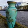 ORIENTAL HAND PAINTED VASE WITH FLOWERS & BUTTERFLYS
