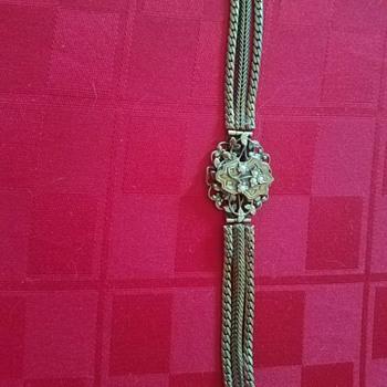 Vintage Victorian Revival Decorative Brass Floral Bracelet - Costume Jewelry