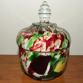 Czech Multi Coloured Spatter Lidded Jar with Green Aventurine - Art Glass