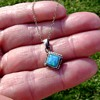 Silver Opal Necklace Signed HAN - Italy