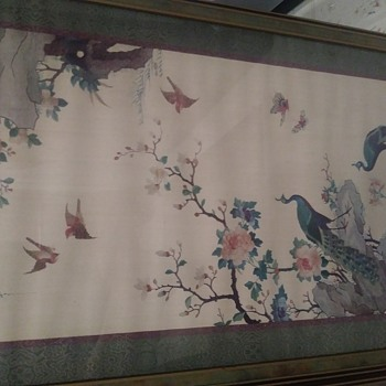 18th Century Chinese Brocaded Hanging with Peacocks - Asian
