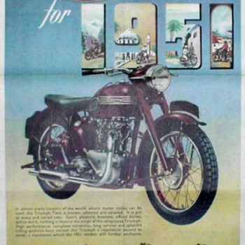 DomiRacer Motorcycle Advertising Poster - 1951 Triumph - Posters and Prints