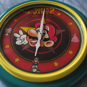 "22"" Super Mario Bros. 2 Wall Clock Nintendo 1989 - Clocks"