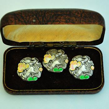 A set of three nice sterling silver enameled Art Nouveau buttons - Art Nouveau