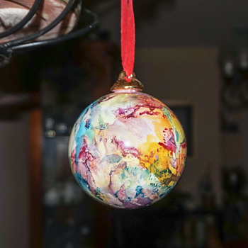 Marbleized Glass Ornament - Christmas