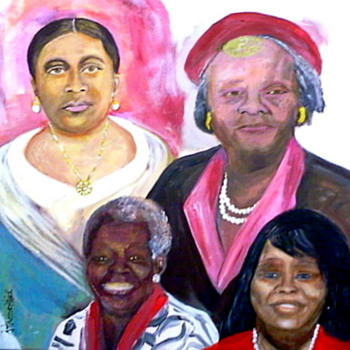 Four Generation Portrait Painting using Acrylic  medium on gallery canvas - Fine Art