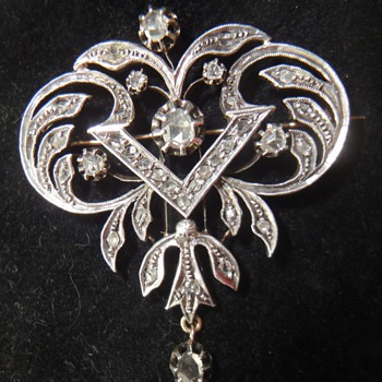 Edwardian white gold or silver diamond brooch - Fine Jewelry