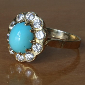 Turquoise ( and diamonds?) 585 gold ring - Fine Jewelry