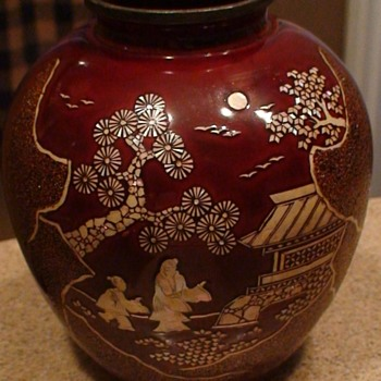 Vintage Oriental Wooden Vase Inlaid With Mother-Of-Pearl - Asian