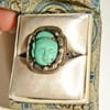 Antique Chinese Carved Turquoise Quan Yin Etched Silver Ring W/Orig Box