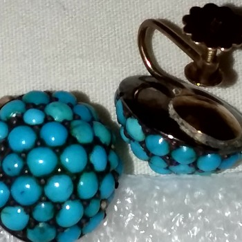 Vintage robin egg blue Persian turquoise 9 karat gold earrings Maybe - Fine Jewelry
