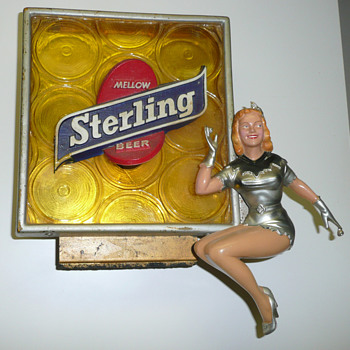 Sterling Beer Girl Light Up Sign - Breweriana