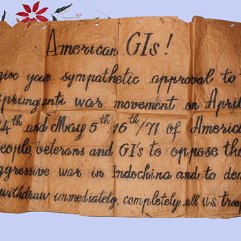 Original OOAK handmade antiwar Protest Sign / Poster vs. the Vietnam War on April 24-May 5, 1971 - Politics