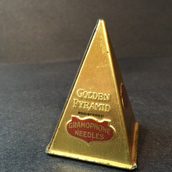 Antique Golden Pyramid Phonograph Needle Tin
