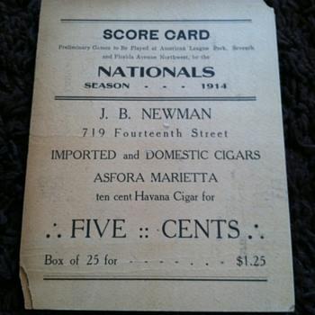 1914 Baseball Scorecard Washington Nationals v. Boston Braves - Baseball