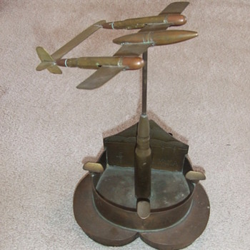 Trench art P-38 on heart shaped base c. 1946 - Military and Wartime