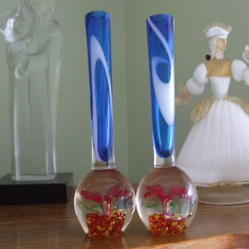 Pair of Abandoned and Forgotten 1950's Paperweight Vases - Art Glass