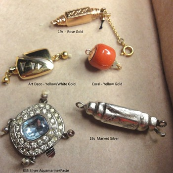 19s and Art Deco Silver and Gold Clasps - Fine Jewelry