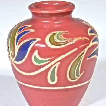 Dark Rouge Colored Small Bulbous Decorated Vase - Pottery