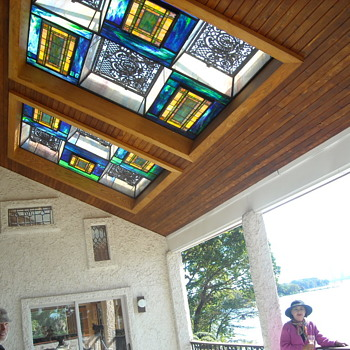 stained glass under my two 10X 10 skylights on porch around the masterBR and LR  - Art Glass