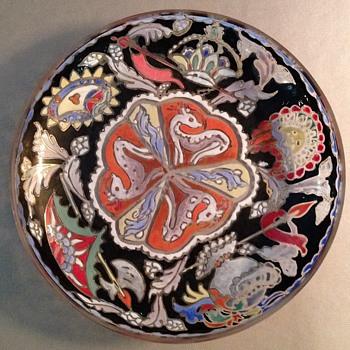 MOSER ENAMEL BLACK AND GOLD HANDPAINTED ENAMEL BOWL - Art Glass
