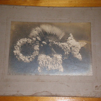 1800's Funeral Flower Arrangement Photographs Mother & Father  - Photographs