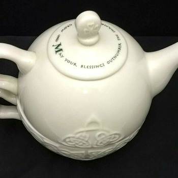 Irish Blessing Teapot Celtic Porcelain Tea For One Nesting Tea Cup & Pot Set - China and Dinnerware
