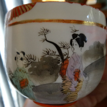 """Japanese """"egg shell"""" porcelain """"River scene"""" cup and saucer - Asian"""