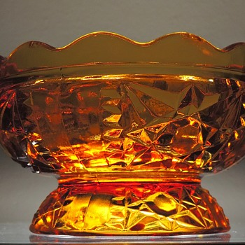 Fairy Lamp Glass Bottom Amber Collectible Star of David Embossed - Lamps