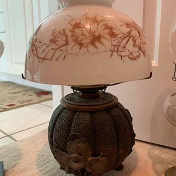 Antique melon vase oil lamp - Lamps