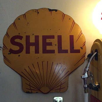 1929 Shell Doubled Sided Porcelain Sign  - Petroliana