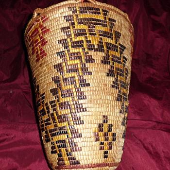 Klickitat Native American Fancy Polychrome Berry Basket