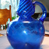 Blue blown glass jug   SOME INFO IF ANYONE KNOWS ANYTHING