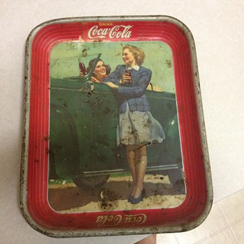 Two Girls in Car Coca Cola Tray - Coca-Cola