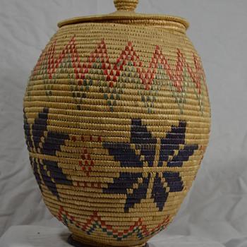 Alaskan Native Basket with Snowflakes - Native American