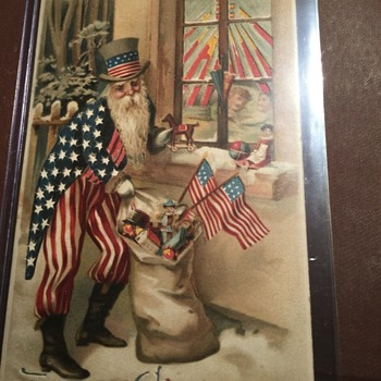 Extremely sought after Uncle Sam Santa Postcard