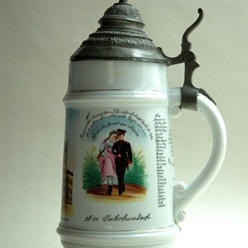 antique german military  beer stein