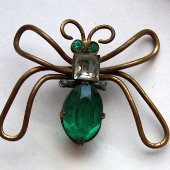 Butterfly pin, early Czechoslovakia - Costume Jewelry