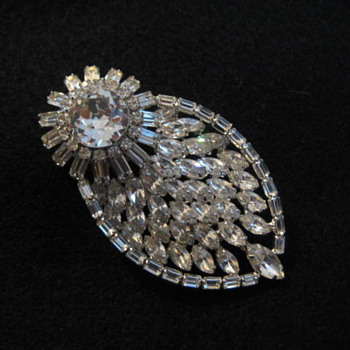 Brooch Clear Rhinestones by KRAMER  - Costume Jewelry