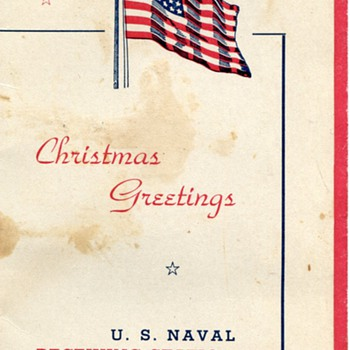 1943 Christmas Greeting from The US Naval Receiving Station, Norfolk, VA - Military and Wartime