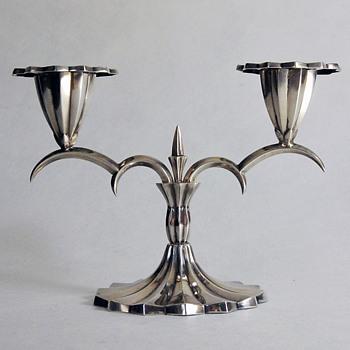 1910 Vienna Moderne Style Silver Candlestick by Hermann Bauer - Art Nouveau