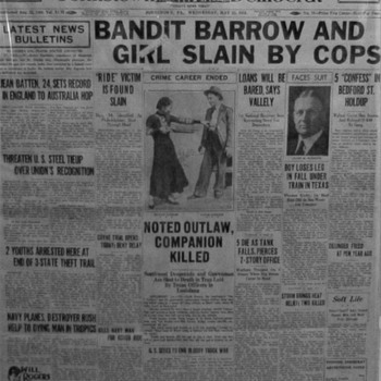 Vintage Johnstown Evening Democrat Newspaper Bonnie & Clyde Slain By Cops (May 23,1934) and Original Owner Of Newspaper - Paper