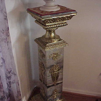 Pair of French Marble & Bronze Pedestals