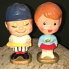 "1960s ""MY HERO"" Kissing Boy And Girl sports bobble head nodders Japan"