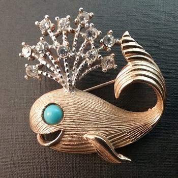 Vintage KJL whale brooch  - Costume Jewelry